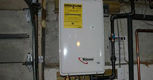 a recently installed tankless water heater